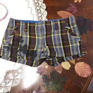 Roxy plaid low rise mini shorts